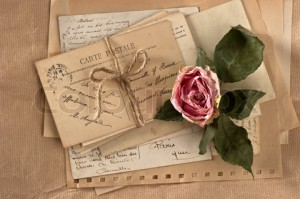 dry rose and old letters. vintage postcards